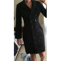 Lindo Vestido Tipo Sobretudo De Linho Preto Tamanho 40