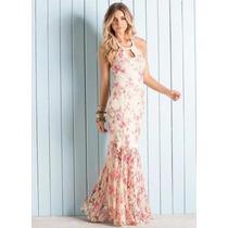 Vestido Longo Frente Única Floral - ( Tamanhos Plus Size )