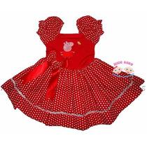 Vestido Festa Peppa Pig Vermelho Collant 1 A 4 Anos