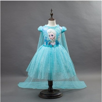 Vestido De Festa Infantil Frozen Elsa Pronta Entrega