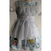 Vestido Fantasia Alice No País Das Maravilhas Pronta Entrega