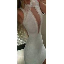 Vestido Renda Curto Justo Sexy Decote Panicat Juju Blogueira
