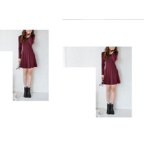 Vestido Curto Mini Saia Lindo Manga Comprida Vermelho Cereja