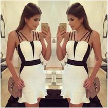 Vestido Rodado Curto,preto Branco, Blogueira, Peplum, Bojo