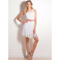 Lindo Vestido De Renda Branco , Festa , Casamento Civil !!!