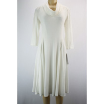 Signature Luva Dos Três Quartos Vestido De Camisola Branca