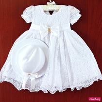 Vestido De Festa Infantil Batizado, Daminha Com Chápeu
