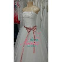 Vestido Noiva Debutante Faixa Rosa Princesa Pronta Entrega