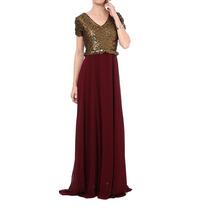 Vestido Longo Vinho Com Paetes Dolps. 42