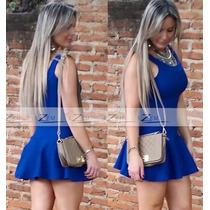 Vestido Modinha Feminino S/renda Rodado Peplum Panicat Curto