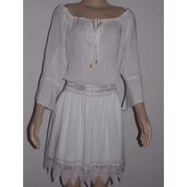 Vestido Manga Cigana Branco Rendado-lindo-verão