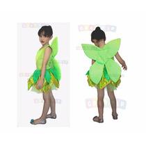 Vestido Da Sininho - Fantasia Fada Verde Luxo Com Asinha