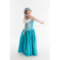 Fantasia Elsa Frozen (tecido) Com Trança - Pronta Entrega