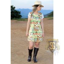 Vestido Country Estampado Cavalos Feminino Selaria Guiricema
