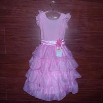 Vestido Infantil Festa Dama Princesa Rosa Babados Em Tule