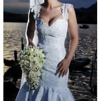 Vestido De Noiva Casamento Branco Bordado Mão Renda E Pérola
