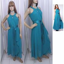 Vestido Importado Em Crepe Azul Ciano Com Faixa De Cetim