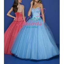 Pronta Entrega Vestido Debutante Princesa Barato Azul Frozen