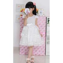 Vestido Infantil Princesa Festa Rosa Ou Branco 6 A 12 Anos