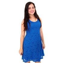 Vestido Em Renda Regata Azul Princesa