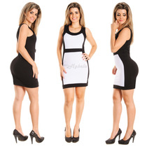 Vestido Feminino Longuete Clássico Social Preto E Branco