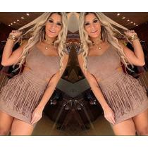 Vestido Suede Franja Moda Blogueira Inverno Menor Preço