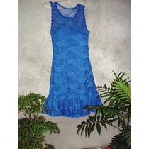 Vestido Em Renda Azul Com Forro Tomara Que Caia E Babado