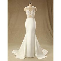 Vestido Noiva Casamento Civil Lindo Renda Tule Branco Barato