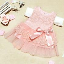 Vestido Infantil Bebe Com Tule E Renda! Frete Grátis!