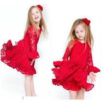 Vestido Infantil Renda Vermelho Curto Rodado Meia Manga