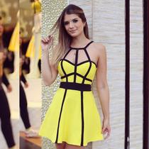 Vestido Rodado Amarelo Jacquard Bruna Fernanda