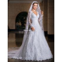 Vestido De Noiva Manga Longa De Renda Cauda Capela