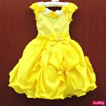 Vestido Bela E A Fera Princesa Luxo Festa Infantil Com Tiara