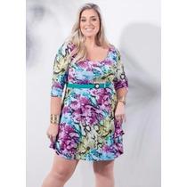 Vestido Decote V Floral Plus Size - Roupa Gordinha Promoção