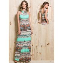 Vestido Feminino Longo Estampado Étnico Verão Festa Casual