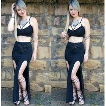 Vestido Conjunto Cropped+saia Longa Sereia Viscolycra/short