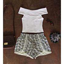 Conjunto Cropped Branco Com Short Feminino Cintura Alta