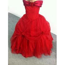 Vestido Dama/princesa/formatura Vermelho Voal E Pompom