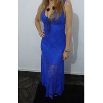 Vestido Longo Renda Importado Azul Royal