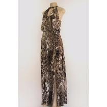 Vestido Longo Estampa Onça Com Fenda - Lançamento Inverno 15