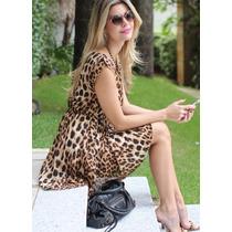 Vestido Luxo Chifon Onça Oncinha Leopardo - Frete Gratis