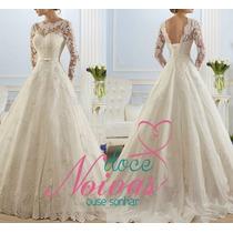 Vestido Noiva Branco Manga Longa Pronta Entrega Gratis Véu