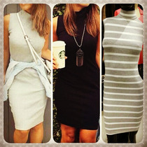 Vestido Midi Regata Gola Alta Moda Blogueira