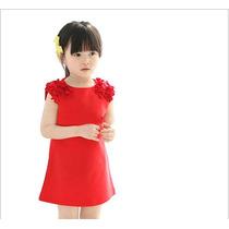 Vestido De Algodao Vermelho Com Flor No Ombro Infantil