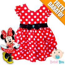 Vestido Minnie Infantil Bebê Festa Aniversário Fantasia Luxo