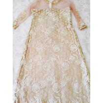 Vestido De Festa Guipir E Tule Dourado M