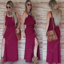 Vestidos De Babado Longo Sereia Com Fenda Roupas Femininas