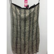 Vestido Paetê Animal Print