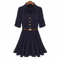 Vestido Azul Chiffon Social Inverno Manga Longa - G