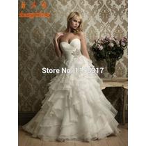 Vestido De Noiva Marfim Organza Importado Pronta Entrega